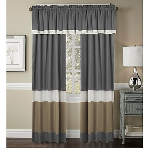 Crystal Window Curtain Panel And Valance In Ivory Taupe