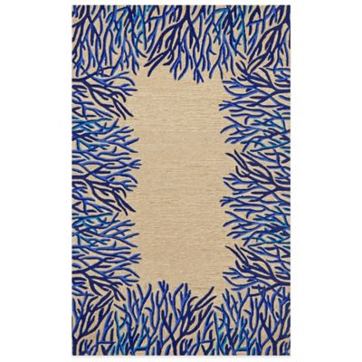 Trans Ocean Spello Coral Border Indoor Outdoor Rug Bed