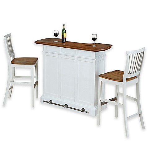 Buy Home Styles Americana Bar With Two Barstools In White Oak From Bed Bath Beyond