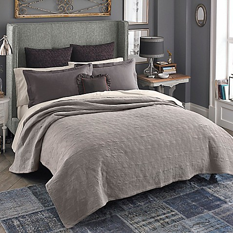 Beekman 1802 Bellvale Double Cloth Quilt In Taupe Bed
