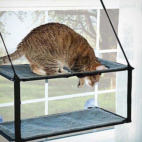 Kitty Sill Double Stack Ez Window Mount In Grey Black