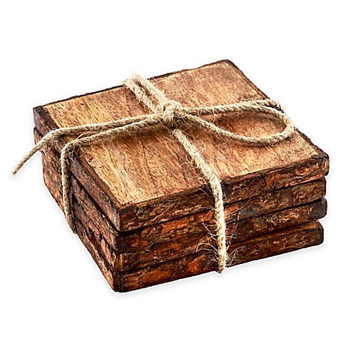 Thirstystone® Square Mango Wood Bark Coasters (Set Of 4) by Bed Bath And Beyond