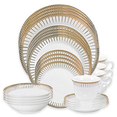 Lorren Home Trends Aria 24 Piece Dinnerware Set by Bed Bath And Beyond