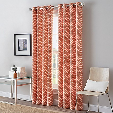 Herringbone Grommet Top Window Curtain Panel