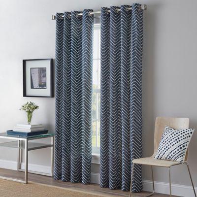 Herringbone Grommet Top Window Curtain Panel Bed Bath