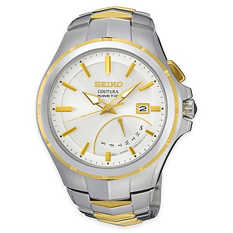 Buy seiko coutura kinetic retrograde men 39 s watch in two tone stainless steel from bed bath beyond for Movado kinetic