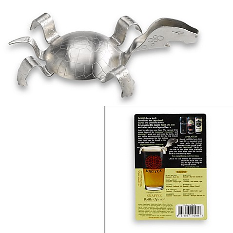 buy lagerhead black and tan turtle with snapper bottle opener from bed bath. Black Bedroom Furniture Sets. Home Design Ideas