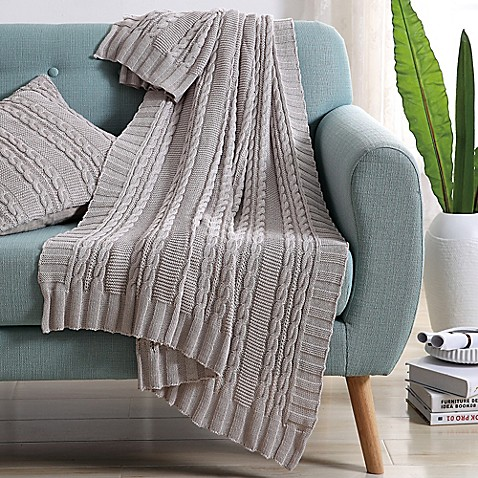 VCNY Abode Dublin Knit Throw Blanket in Silver   Tuggl