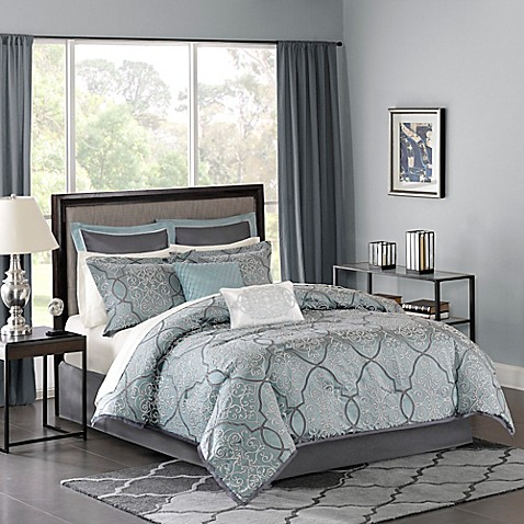 Madison Park Lavine Comforter Set in Blue at Bed Bath & Beyond in Cypress, TX | Tuggl