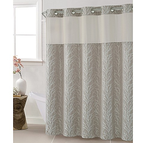 hookless jacquard tree branch shower curtain in taupe octavia shower curtain in blue bed bath amp beyond