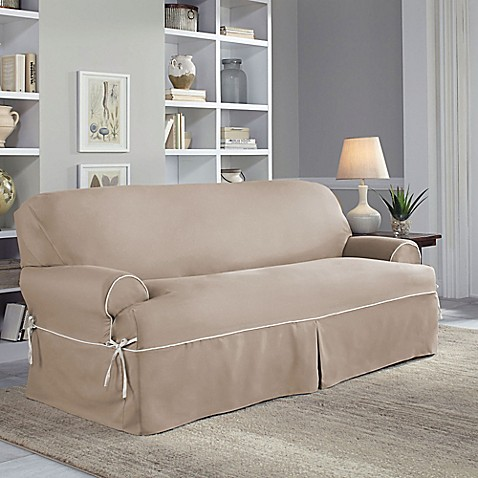 perfect fit classic twill t sofa slipcover bed bath beyond. Black Bedroom Furniture Sets. Home Design Ideas