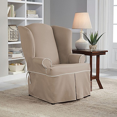 Perfect Fit Classic Twill Wingback Chair Slipcover Bed