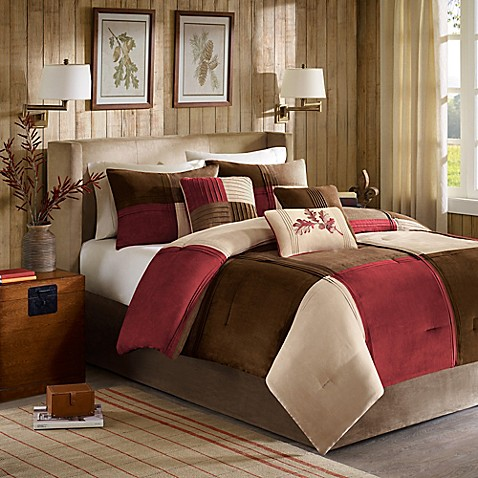 Madison park jackson blocks 7 piece comforter set in red for Red and brown bathroom sets