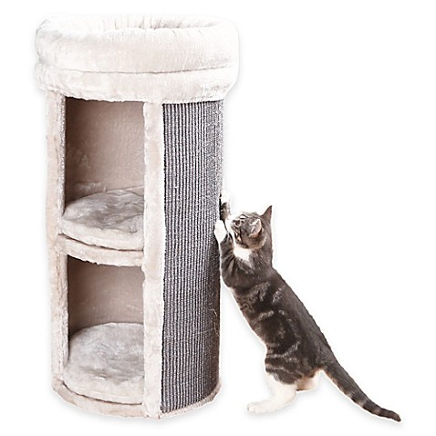 Mexia 2 Story Cat Tower With 2 Hideaways In Grey Beige