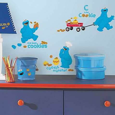 roommates sesame street me love cookie monster peel and stick wall decals set of 28 bed. Black Bedroom Furniture Sets. Home Design Ideas