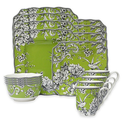 222 Fifth Adelaide 16 Piece Dinnerware Set In Green Bed
