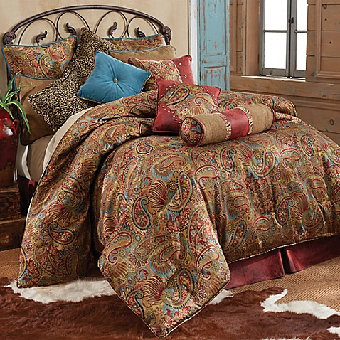 Hiend Accents San Angelo Comforter Set With Red Faux