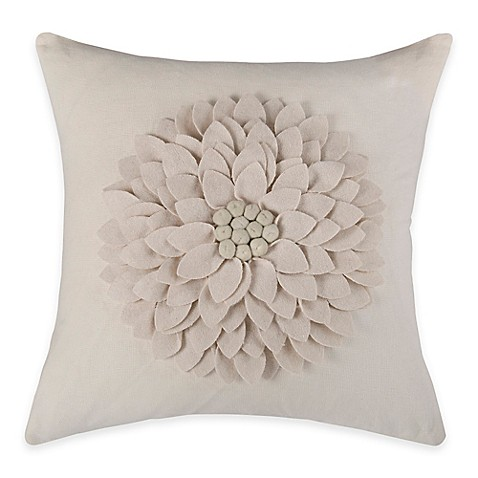Square Throw Pillow Pattern : Buy Rizzy Home Flower Applique Pattern Square Throw Pillow in Ivory from Bed Bath & Beyond