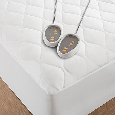 Beautyrest Cotton Blend Heated Mattress Pad In White Bed