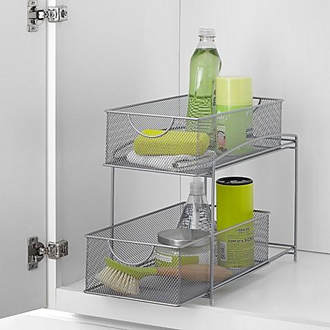 Org Mesh 2 Tier Sliding Cabinet Basket In Silver Bed