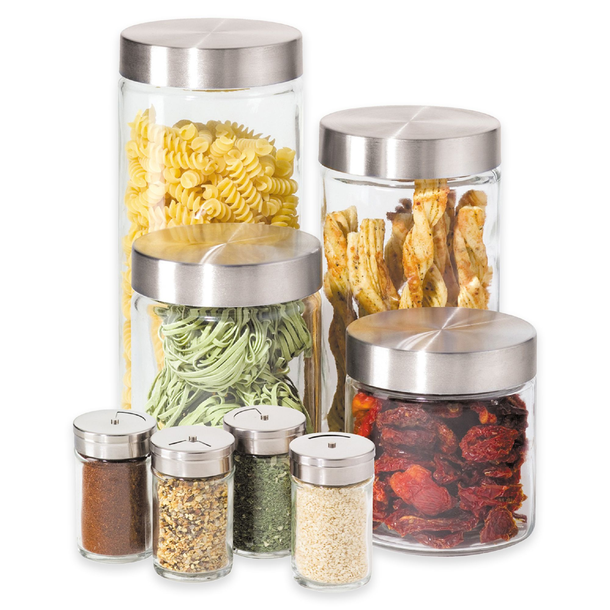 Oggi™ 8-Piece Round Glass Canister Set with Spice Jars, Bed Bath and Beyond