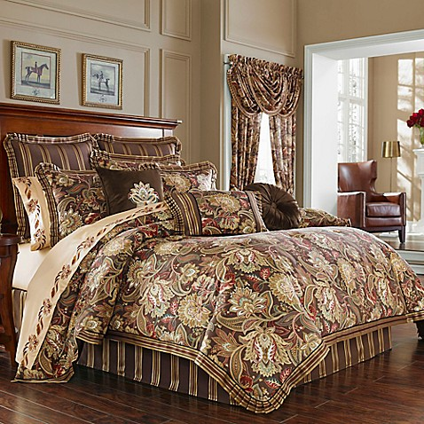 J Queen New York Coventry Comforter Set In Brown Bed