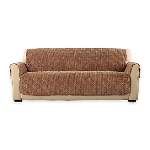 Buy Sure Fit Wide Wale Corduroy Sofa Cover In Brown From