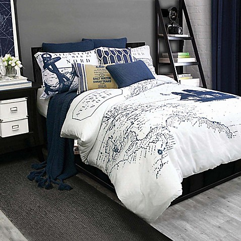 Shelburne Duvet Cover Set In Navy White Bed Bath Amp Beyond