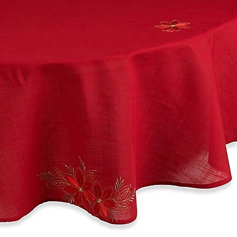 Poinsettia Filigree 70 Inch Round Tablecloth Bed Bath