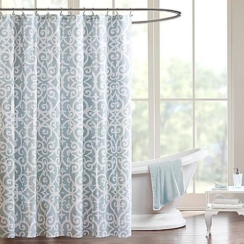 Madison Park Pure Elena Shower Curtain In Aqua Bed Bath