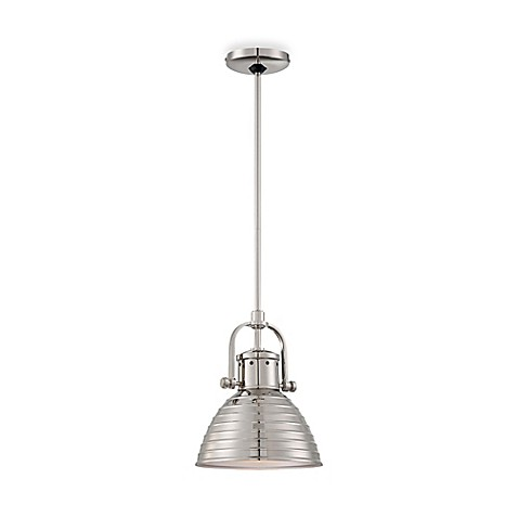 Buy Minka Lavery 1 Light Mini Pendant In Polished Nickel With Metal Shade From Bed Bath Beyond
