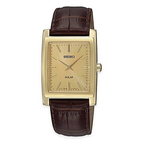 Buy Seiko Men S Solar Rectangular Watch With Brown Leather