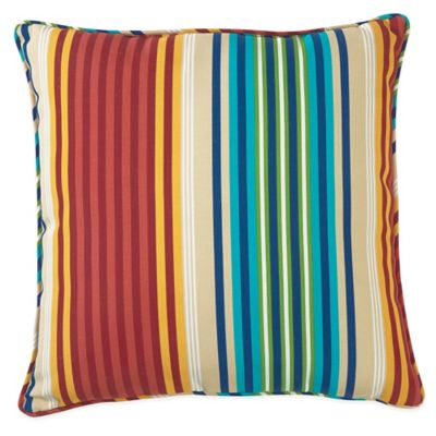Modern Family Pillow Stripe : Outdoor 20-Inch Throw Pillow in Multi Modern Stripe - Bed Bath & Beyond