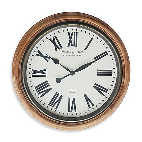 Sterling Amp Noble Roman Numeral Wall Clock In Brown Bed