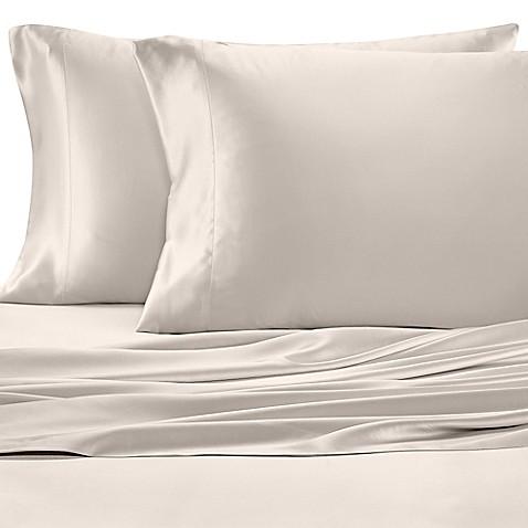 Buy valeron estate silk queen sheet set in platinum from for Silk sheets queen bed bath beyond