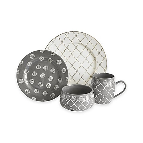 Baum Moroccan 16-Piece Dinnerware Set in Grey/Ivory at Bed Bath & Beyond in Cypress, TX | Tuggl