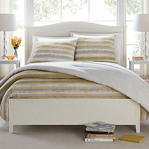 Butter Cotton Painted Stripe Comforter Set In Taupe Bed