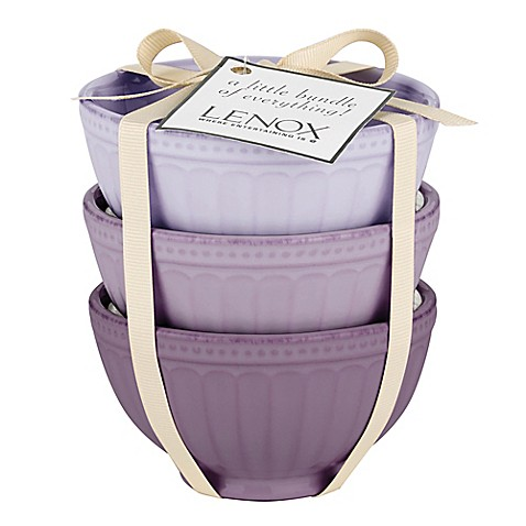 Lenox® French Perle™ Groove Mini Everything Bowls in Purple (Set of 3) at Bed Bath & Beyond in Cypress, TX | Tuggl