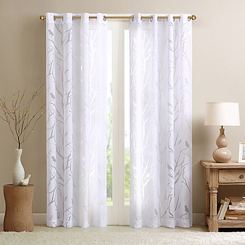 Madison Park Averil Sheer Bird 84 Inch Grommet Top Window