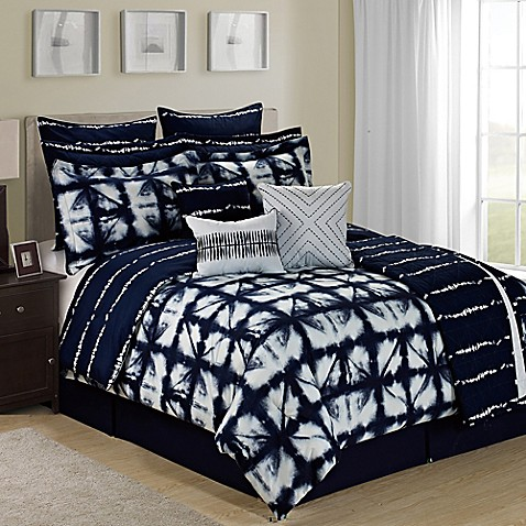 Tie Dye Reversible 12 Piece Comforter Set In Navy White