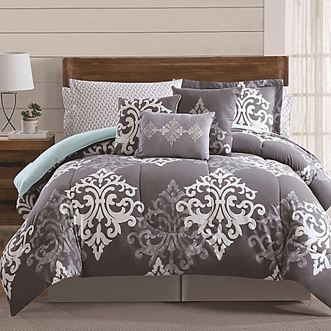 12 Piece Textured Damask Comforter Set In Grey Teal Bed Bath Amp Beyond