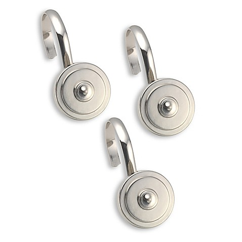 Decorative Metal Shower Curtain Hooks In Silver Set Of 12 Bed Bath Beyond