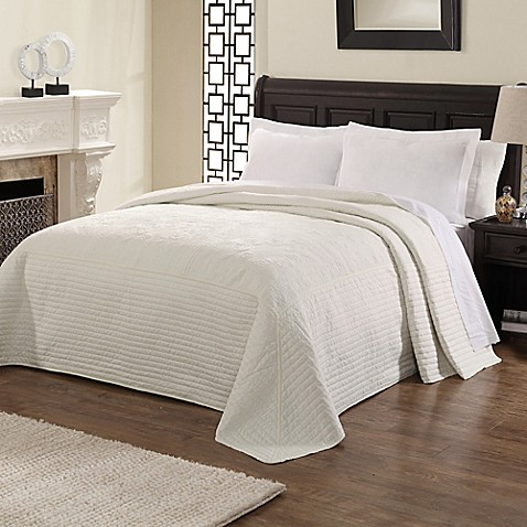 Buy French Tile Queen Bedspread In White From Bed Bath
