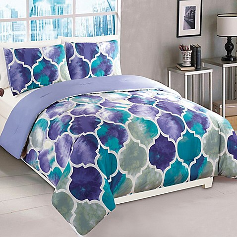 Buy Emmi 2 Piece Twin Comforter Set In Purple Teal From Bed Bath Beyond