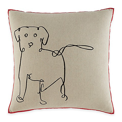 Ed Ellen Degeneres Dog Square Throw Pillow In Medium Brown