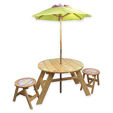 Teamson kids outdoor table and chairs set with umbrella in for Garden table and chairs with umbrella