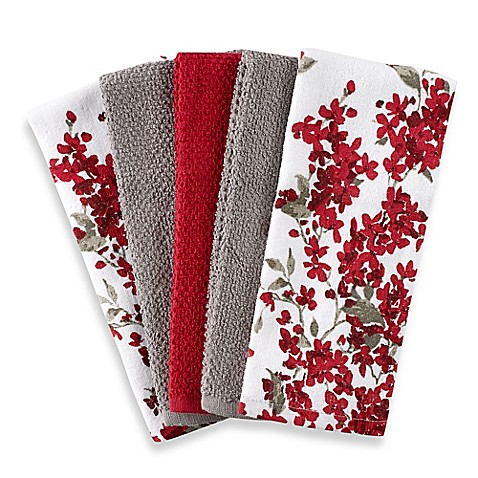 Cherry Blossom 5 Pack Kitchen Towel Set In Red White Bed