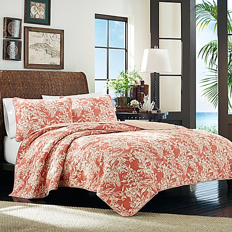 Tommy Bahama 174 Orchid Retreat Quilt In Coral Bed Bath