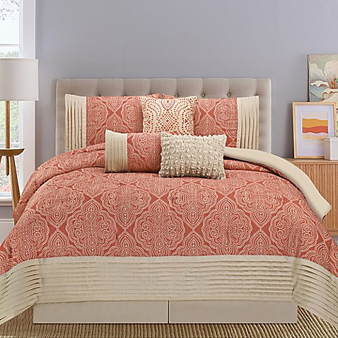 Montpellier 7 piece comforter set in coral tan bed bath - Bed bath and beyond bedroom furniture ...