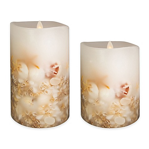Luminara Seashell Pillar Candle In White Bed Bath Amp Beyond